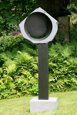 Crescent Moon - basalt on basalt and sandstone - SOLD