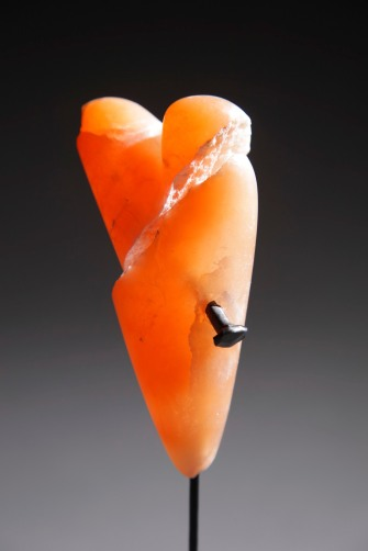 Clean Break - mended -orange alabaster, handforged nail on granite
