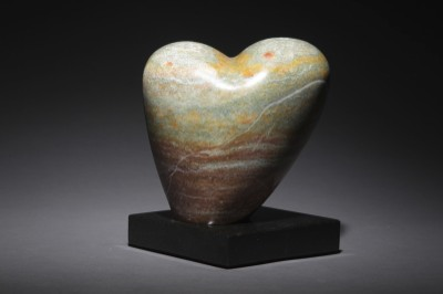 Half-hearted - alabaster on granite - SOLD