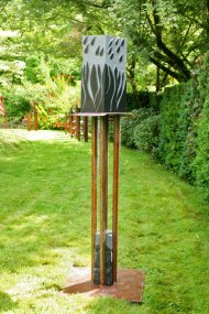 Rain Storm - basalt on steel with granite - SOLD.
