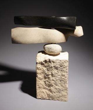 Weathervane - granite, limestone, beach rock & bearings on limestone - $2100